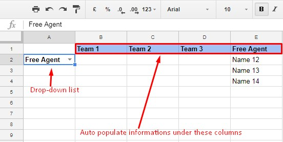 auto populate information based on drop down selection in Google Sheets