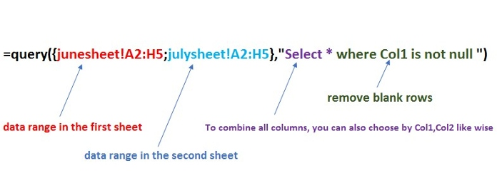 query formula used in combine multiple data sheet explained