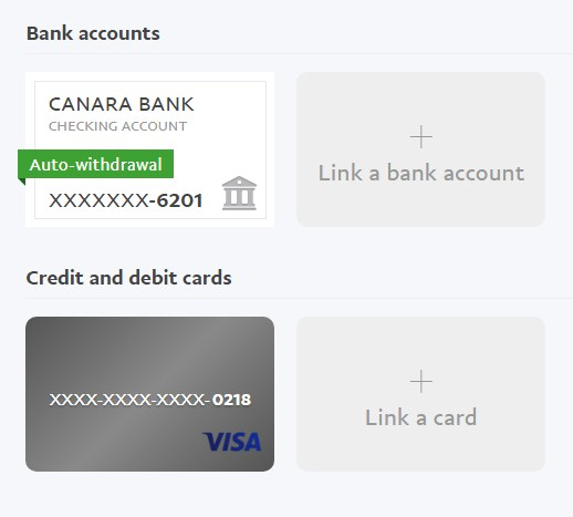 PayPal linked card