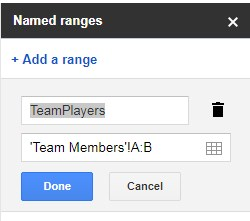 naming ranges to auto populate info in Google Sheets
