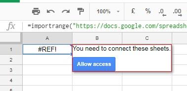 Google sheets importrange function error