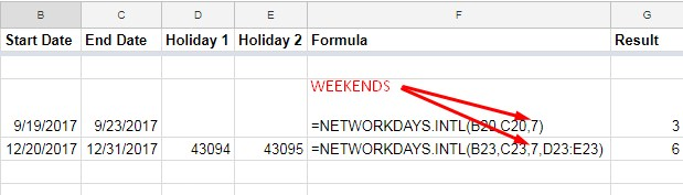 NETWORKDAYS.INTL function in Google sheets