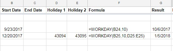 WORKDAY function in Google Sheets