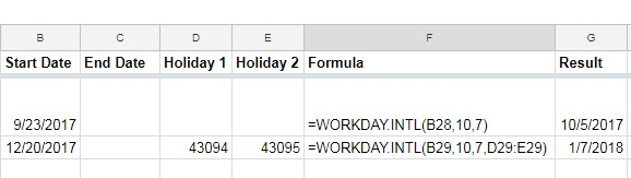WORKDAY.INTL function in Google Sheets