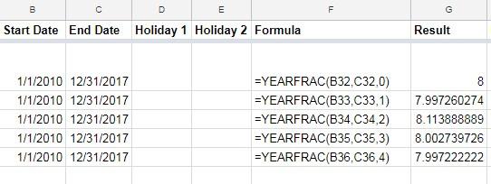 YEARFRAC function in Google Sheets