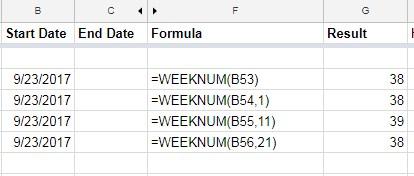 WEEKNUM function in Google Sheets