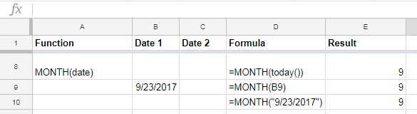 MONTH function in Google Sheets