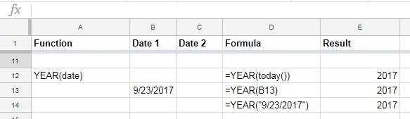 Google Sheets YEAR function