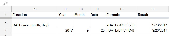 DATE function in Google Sheets