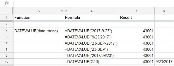 Google Sheets DATEVALUE function