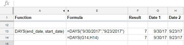 DAYS function in Google Sheets