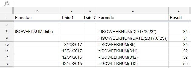 ISOWEEKNUM example