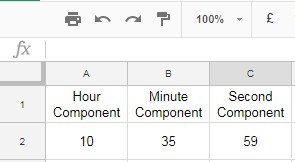 Google Sheets time function