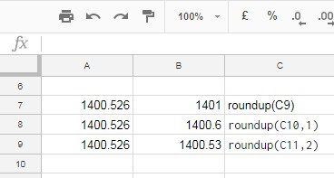ROUNDUP Formula in Google Sheets