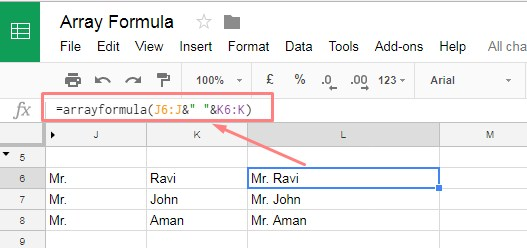 Array Formula with Text function in google sheets