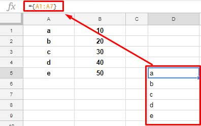 simple use of curly brackets in google sheets