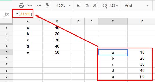 practical use of curly brackets in google sheets