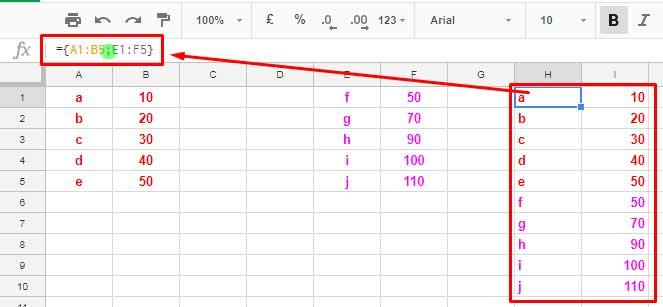 Horizontal data placing using Curly Brackets