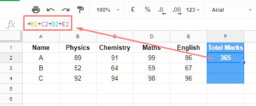 Google Sheets Array Formula Example
