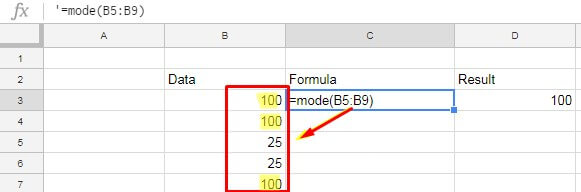 how to use Google Sheets Mode function with number - example
