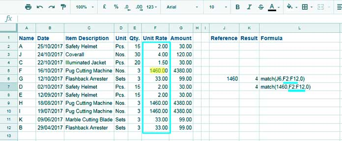 Match Function Example with Numeric Value as Search Key