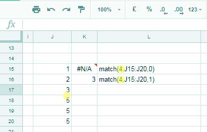 Error in match function in Google Sheets