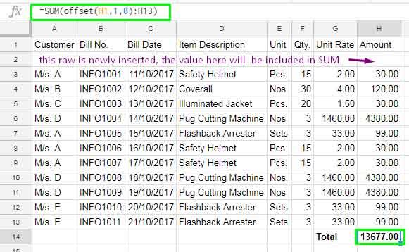 auto update formula when insert new rows