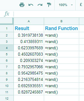 RAND Function example in Google Sheets