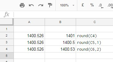 round formula in google sheets