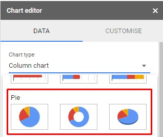chart selection to create 3d pie chart