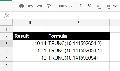 Trunc Function Example