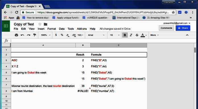 Google Sheets FIND Function