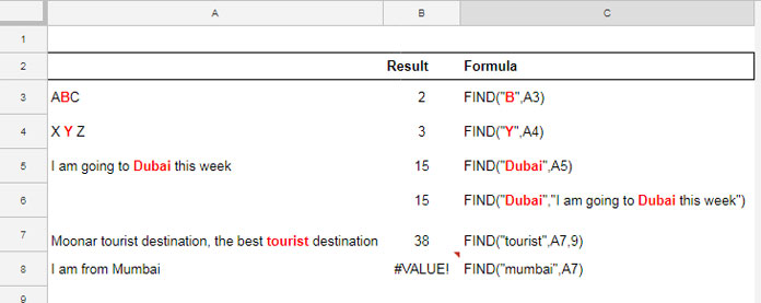 How to Use FIND Formula in Google Sheets