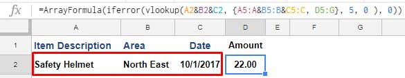VLOOKUP with three criteria in Google Sheets