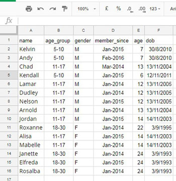Sample Data for ARRAY_CONSTRAIN Formula with QUERY