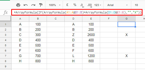 Compare Two Tables Side by Side in Google Sheets