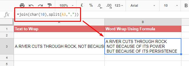 word wrap in google sheets using formula