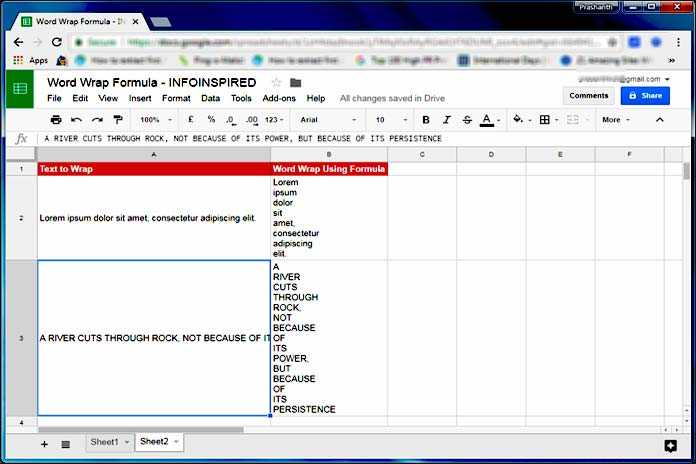 Wrap Text Using Formula in Google Sheets
