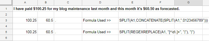 Regexreplace and split formulas to extract numbers from text