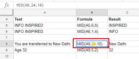 SEARCH and MID Google Sheets
