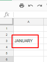 Month in Text Google Sheets