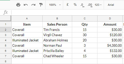 Query with Visible Rows - Sample Data