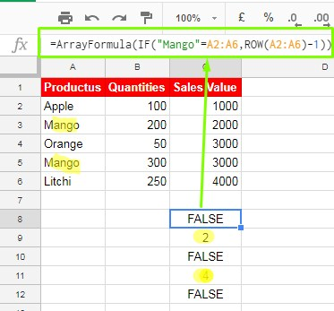 IF formula in combination with ROW