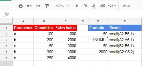 Basic SMALL Formula Examples