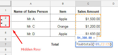 subtotal normal use with hidden rows
