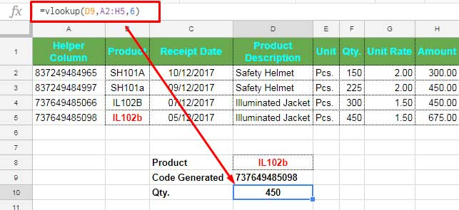 Case sensitive vlookup with the help of regex