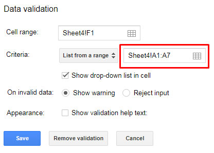 drop-down for Google Sheets Choose