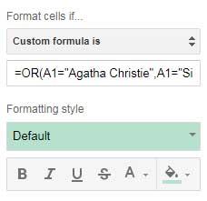 custom formula for single column multiple condition highlight