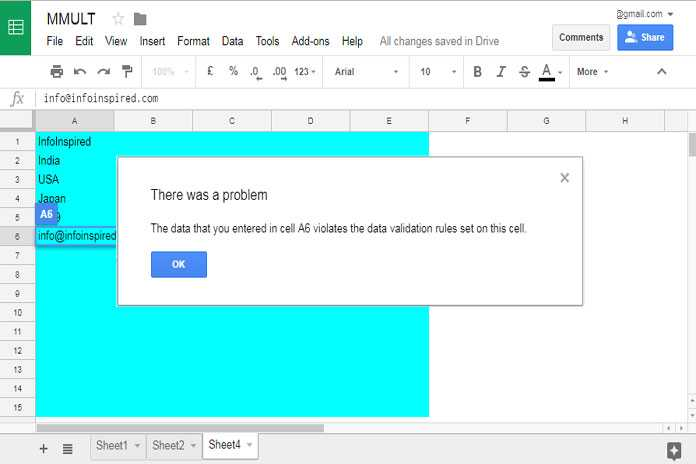 Restrict Entering Special Characters in Google Sheets
