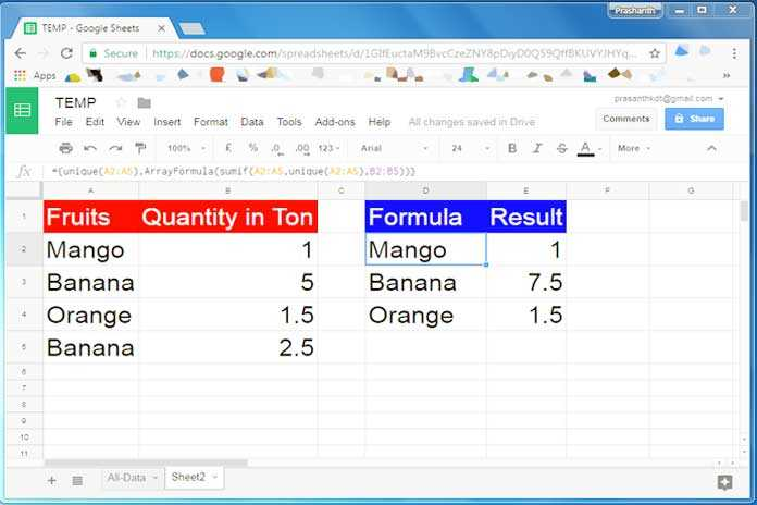 How to Use UNIQUE and SUM together in Google Sheets